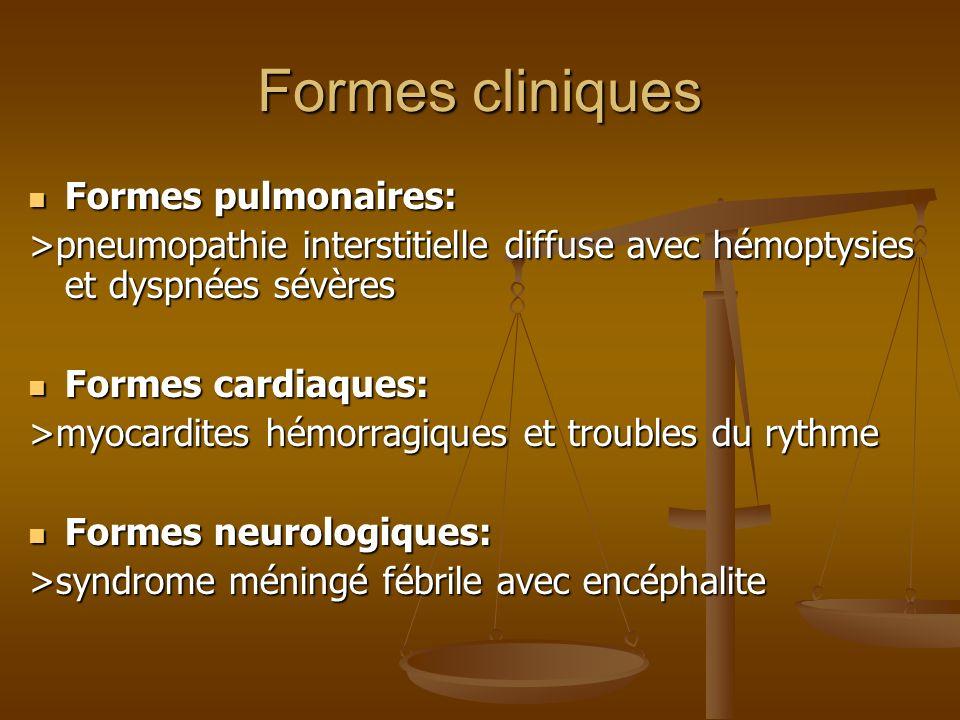 Formes cliniques Formes pulmonaires: