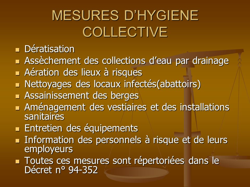 MESURES D'HYGIENE COLLECTIVE