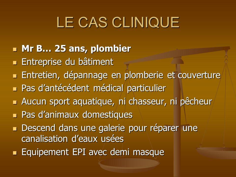 LE CAS CLINIQUE Mr B… 25 ans, plombier Entreprise du bâtiment