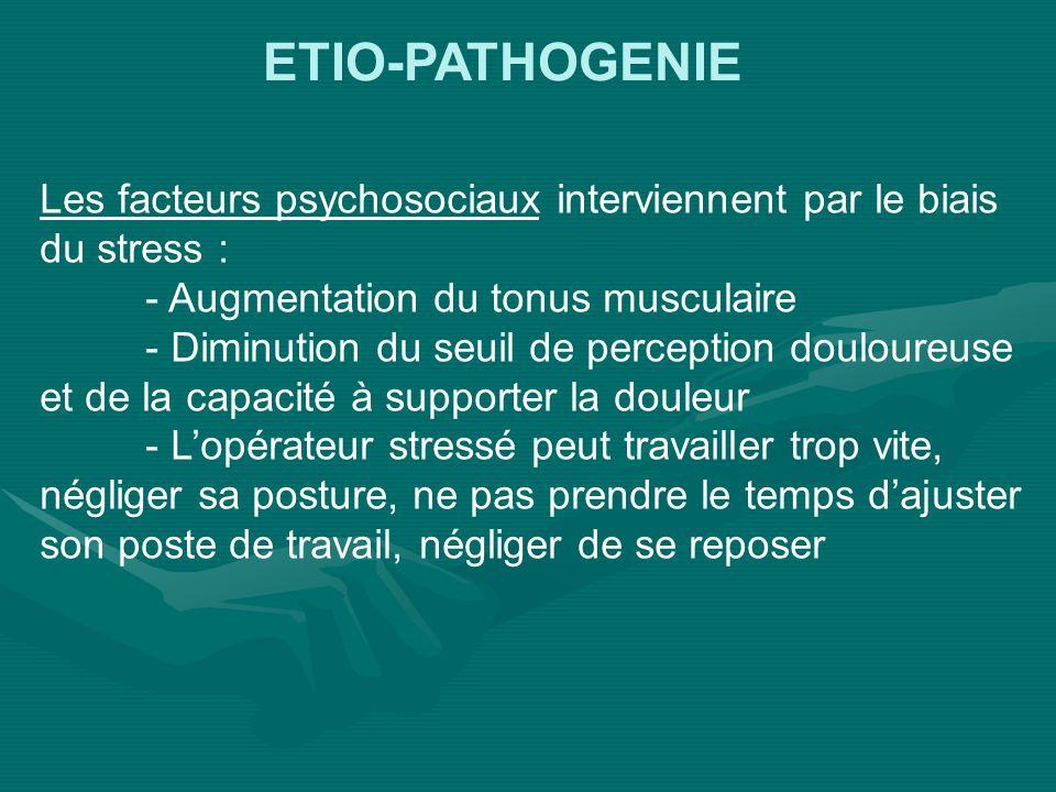 ETIO-PATHOGENIE Les facteurs psychosociaux interviennent par le biais