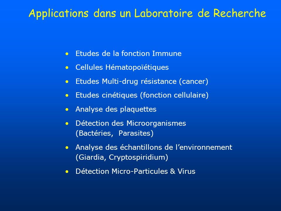 Applications dans un Laboratoire de Recherche