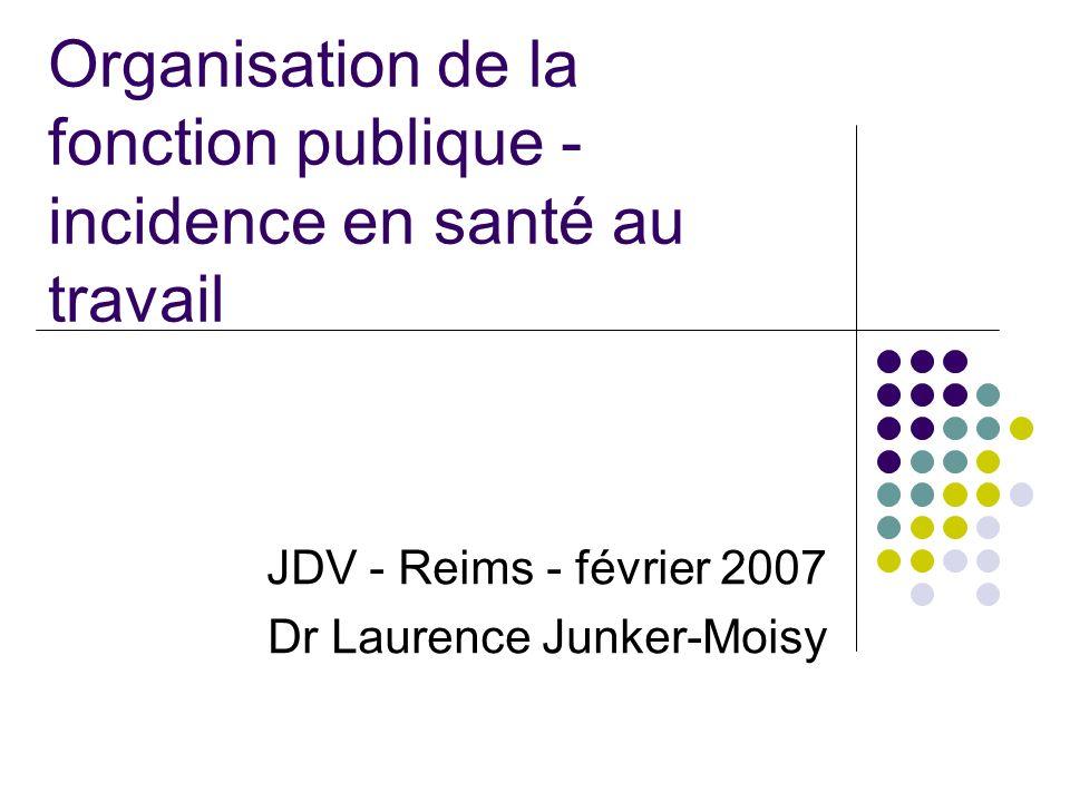 Organisation de la fonction publique - incidence en santé au travail