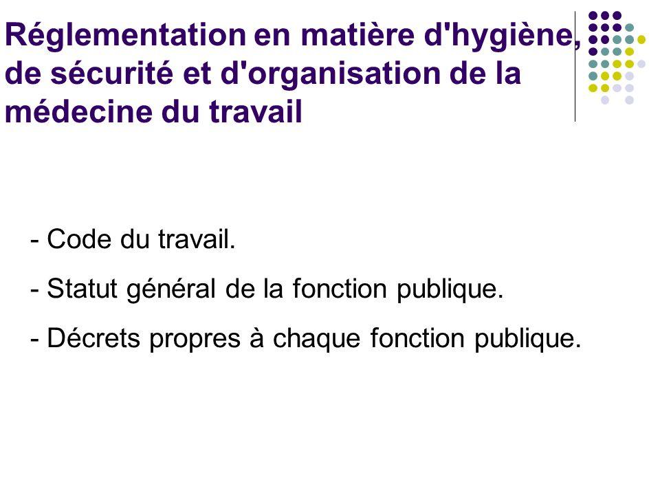 Réglementation en matière d hygiène, de sécurité et d organisation de la médecine du travail