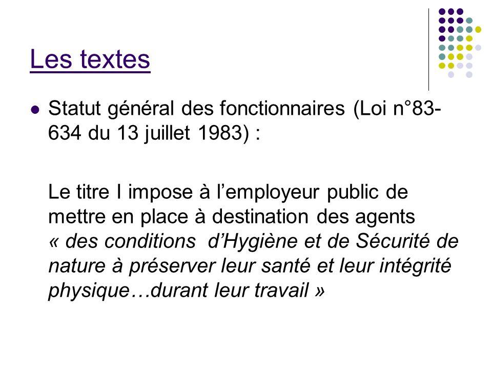 Les textes Statut général des fonctionnaires (Loi n°83-634 du 13 juillet 1983) :