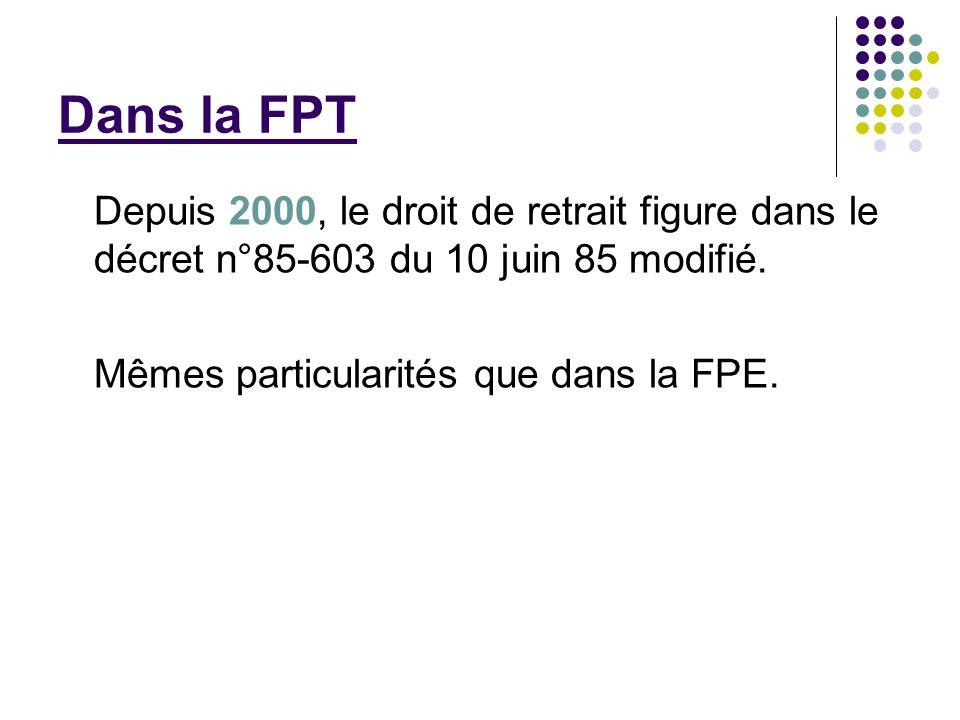 Dans la FPT Depuis 2000, le droit de retrait figure dans le décret n°85-603 du 10 juin 85 modifié.