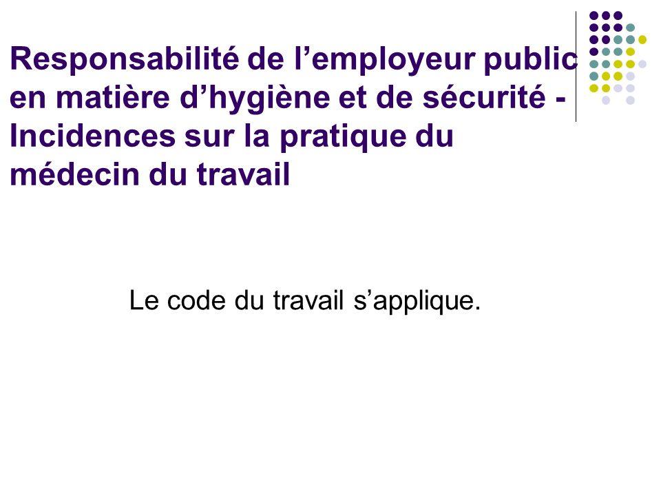 Responsabilité de l'employeur public en matière d'hygiène et de sécurité - Incidences sur la pratique du médecin du travail