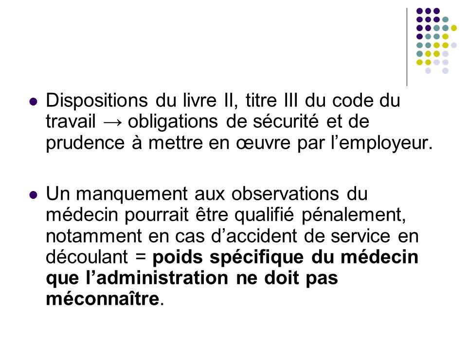 Dispositions du livre II, titre III du code du travail → obligations de sécurité et de prudence à mettre en œuvre par l'employeur.