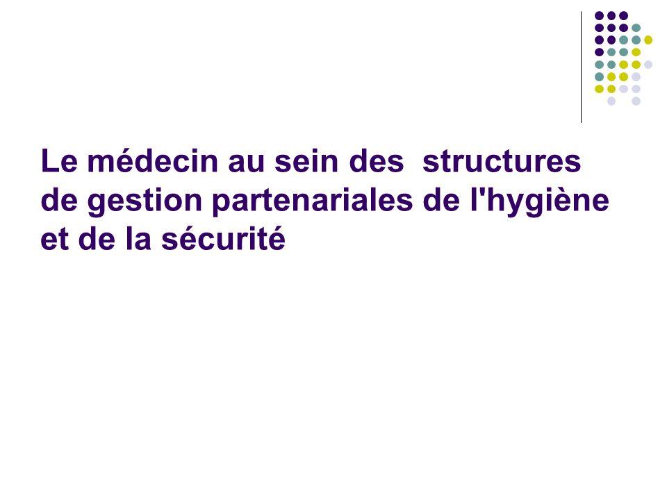 Le médecin au sein des structures de gestion partenariales de l hygiène et de la sécurité