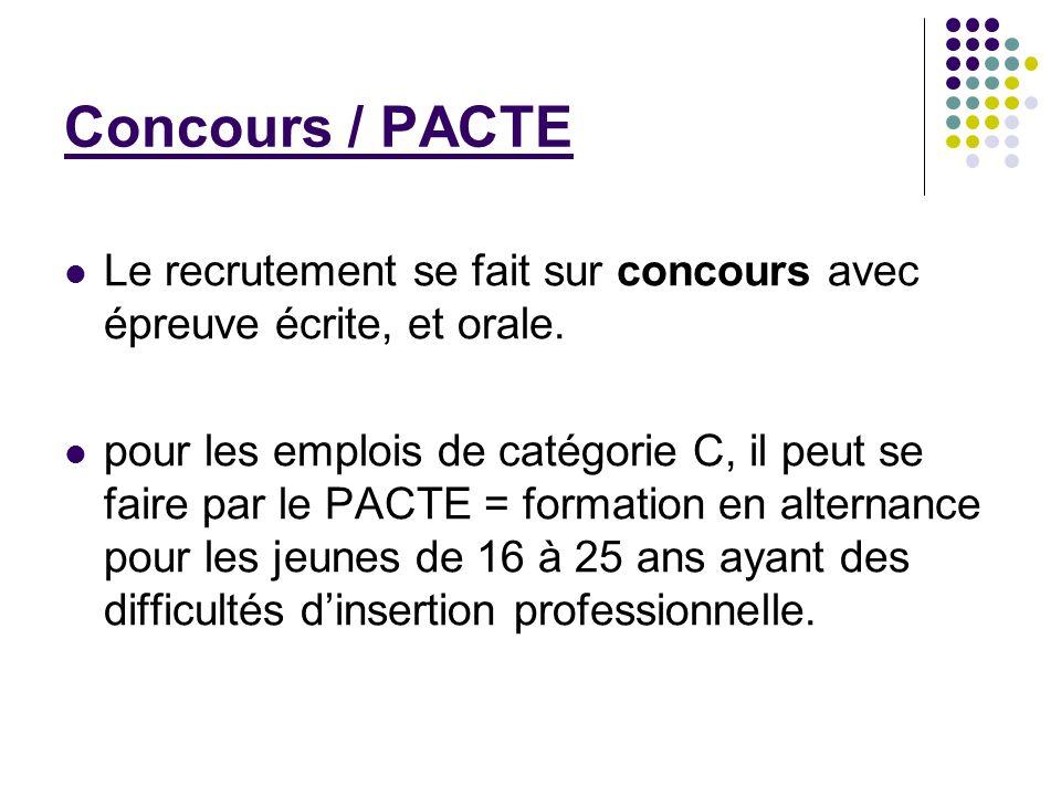 Concours / PACTE Le recrutement se fait sur concours avec épreuve écrite, et orale.