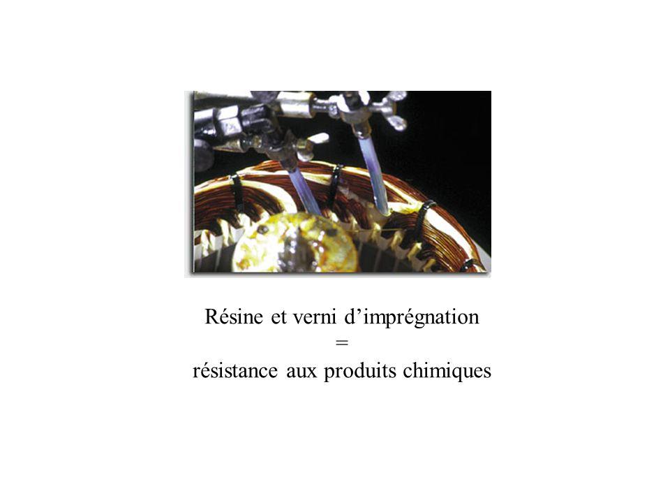 Résine et verni d'imprégnation = résistance aux produits chimiques