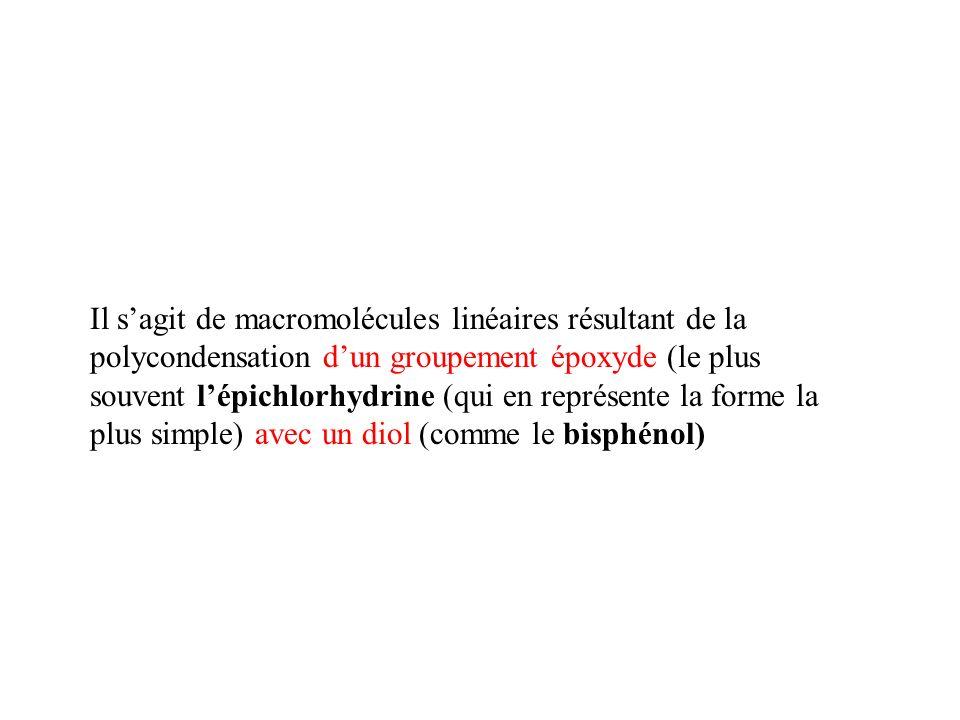 Il s'agit de macromolécules linéaires résultant de la polycondensation d'un groupement époxyde (le plus souvent l'épichlorhydrine (qui en représente la forme la plus simple) avec un diol (comme le bisphénol)