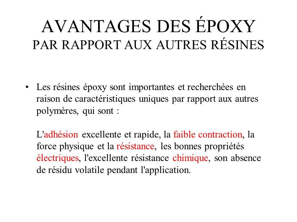 AVANTAGES DES ÉPOXY PAR RAPPORT AUX AUTRES RÉSINES