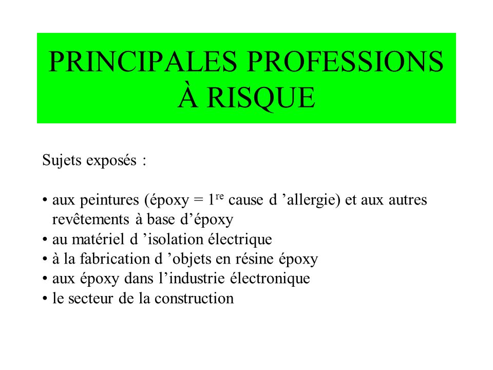 PRINCIPALES PROFESSIONS À RISQUE