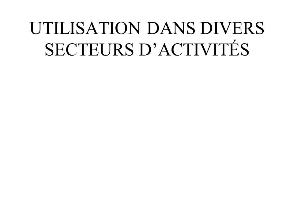 UTILISATION DANS DIVERS SECTEURS D'ACTIVITÉS