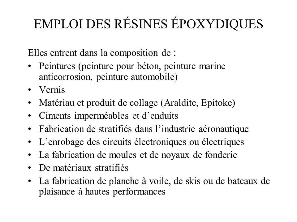 EMPLOI DES RÉSINES ÉPOXYDIQUES