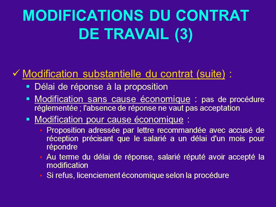 MODIFICATIONS DU CONTRAT DE TRAVAIL (3)