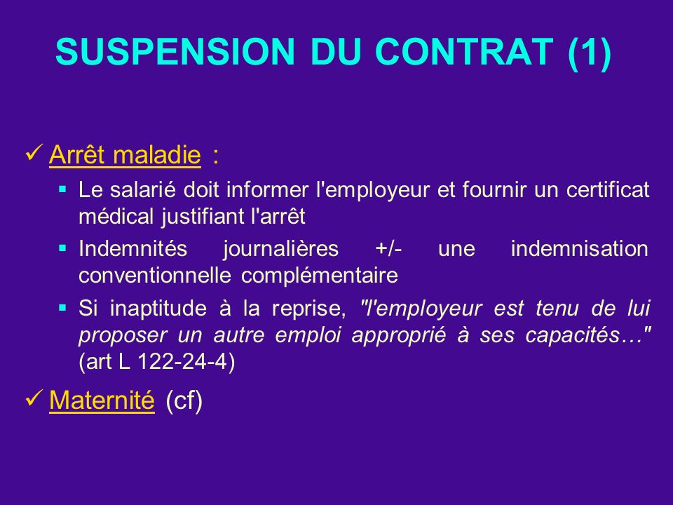 SUSPENSION DU CONTRAT (1)