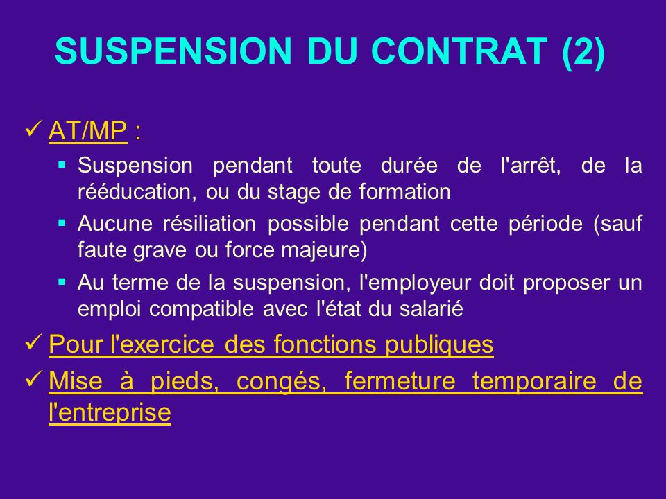 SUSPENSION DU CONTRAT (2)