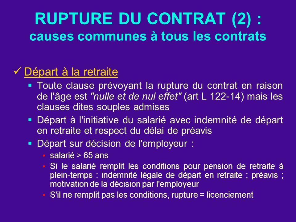 RUPTURE DU CONTRAT (2) : causes communes à tous les contrats
