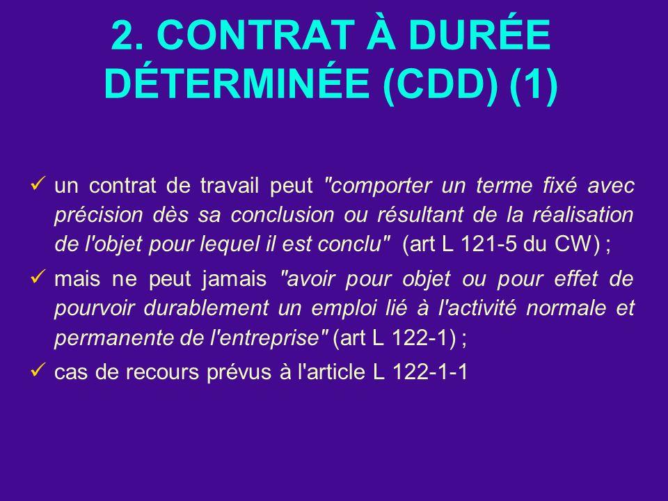 2. CONTRAT À DURÉE DÉTERMINÉE (CDD) (1)