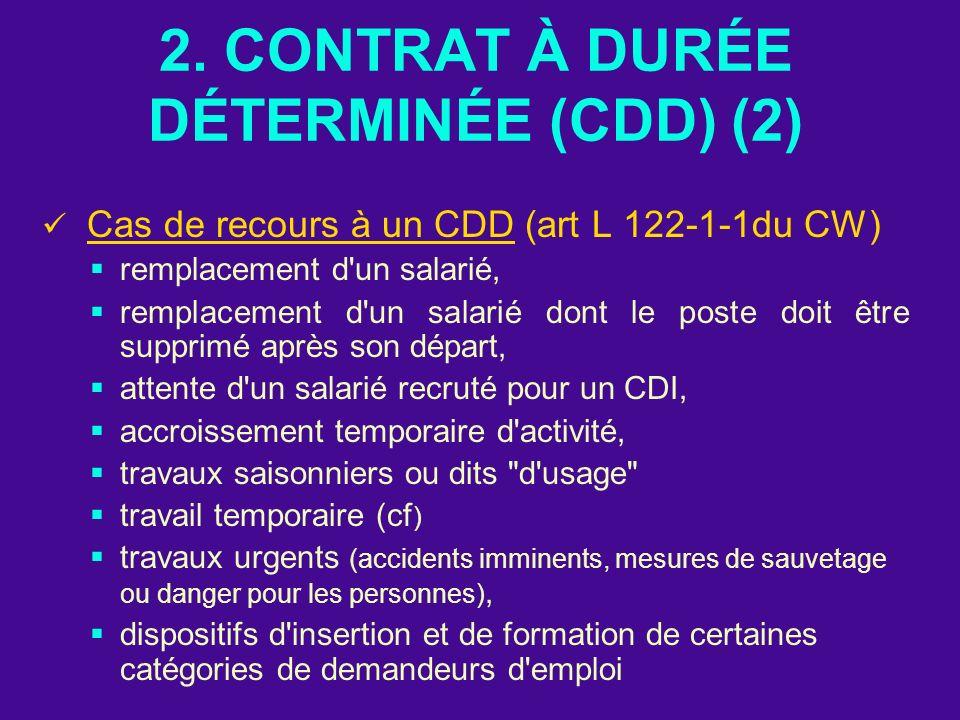 2. CONTRAT À DURÉE DÉTERMINÉE (CDD) (2)