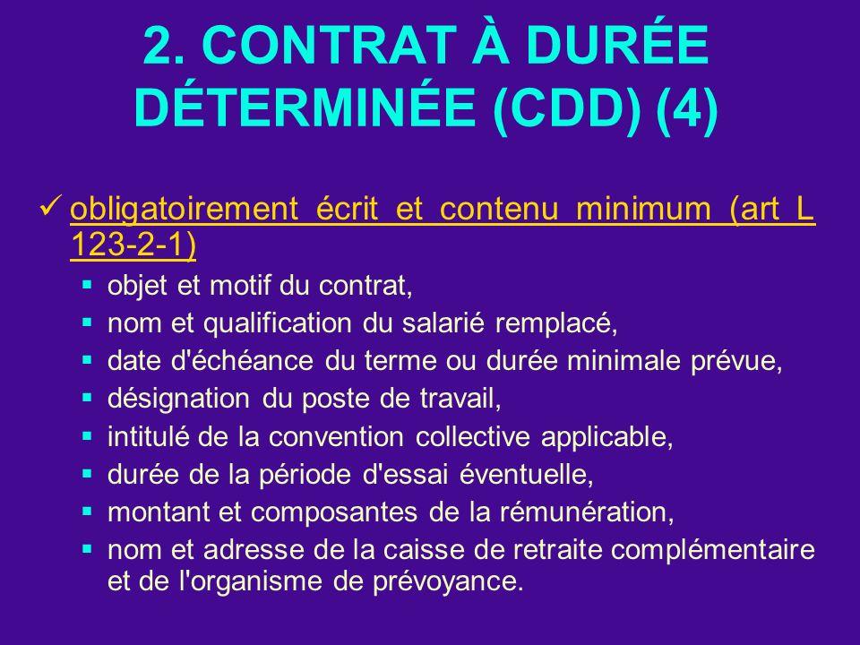 2. CONTRAT À DURÉE DÉTERMINÉE (CDD) (4)