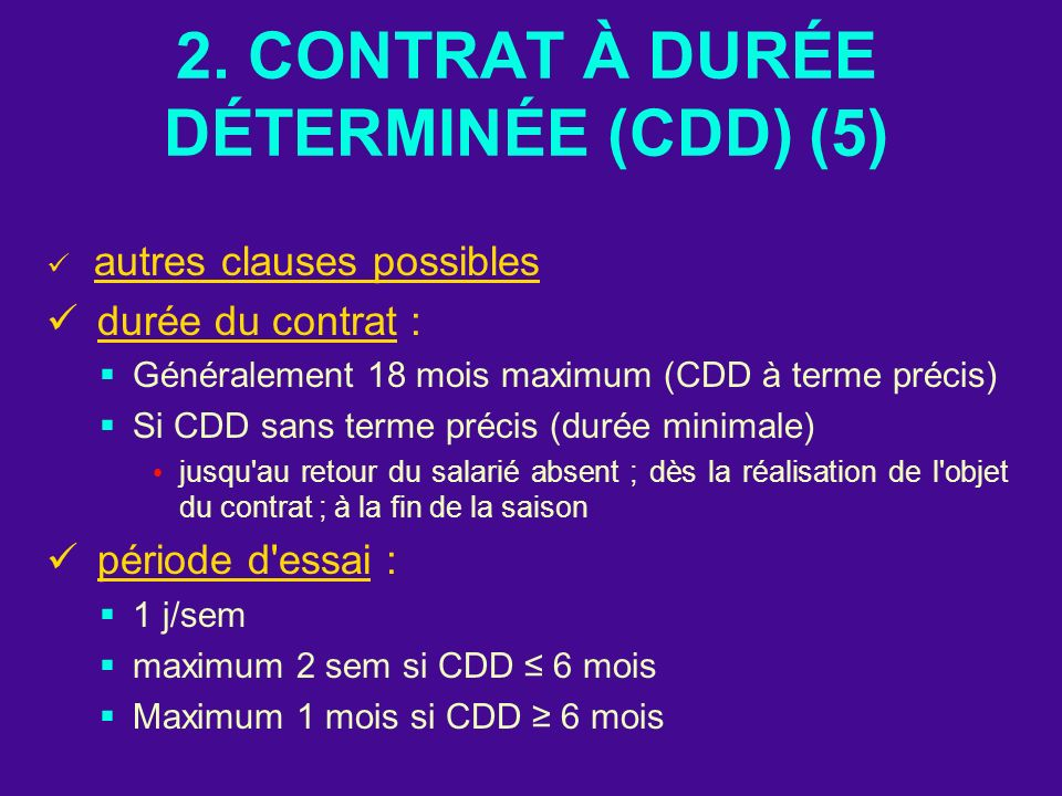 2. CONTRAT À DURÉE DÉTERMINÉE (CDD) (5)