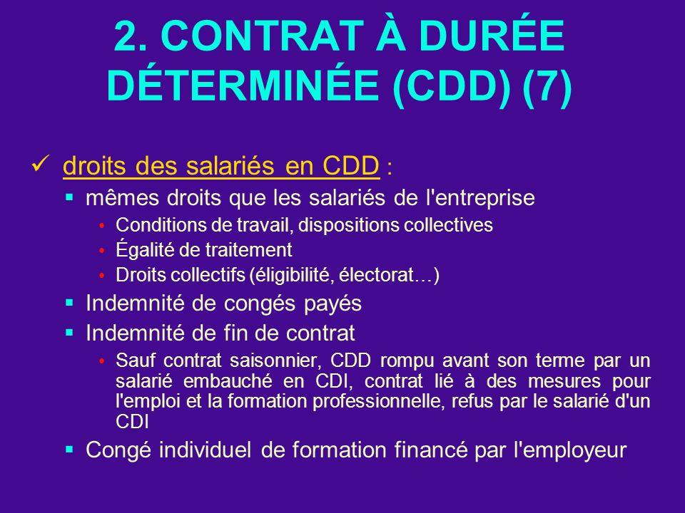 2. CONTRAT À DURÉE DÉTERMINÉE (CDD) (7)
