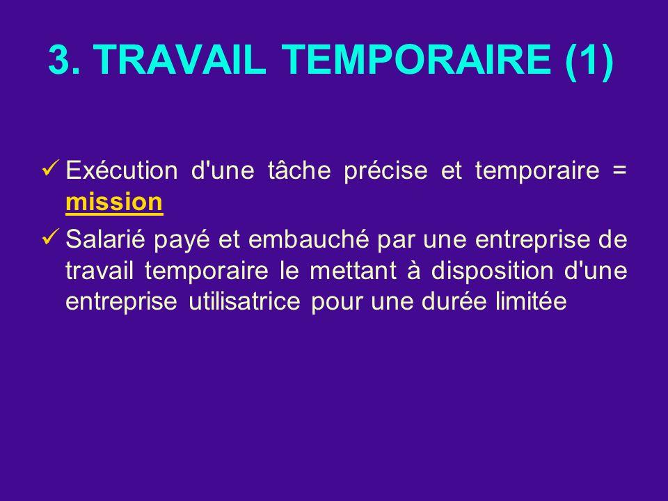 3. TRAVAIL TEMPORAIRE (1) Exécution d une tâche précise et temporaire = mission.