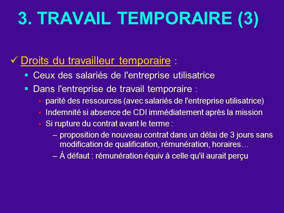 3. TRAVAIL TEMPORAIRE (3) Droits du travailleur temporaire :