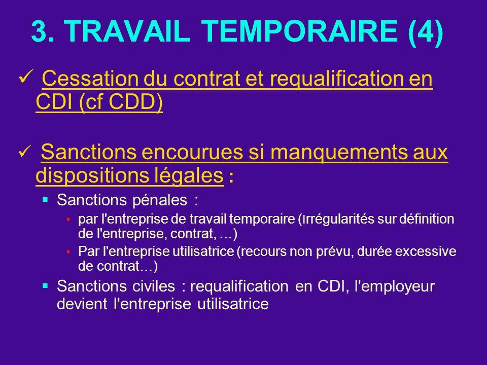 3. TRAVAIL TEMPORAIRE (4) Cessation du contrat et requalification en CDI (cf CDD) Sanctions encourues si manquements aux dispositions légales :