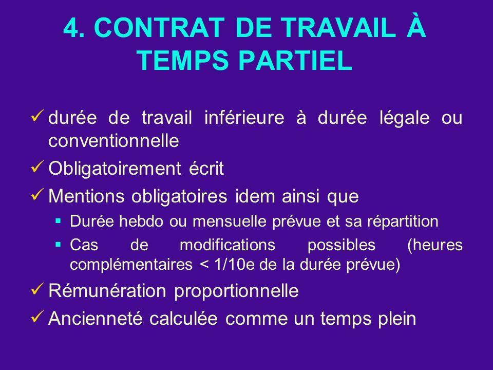 4. CONTRAT DE TRAVAIL À TEMPS PARTIEL