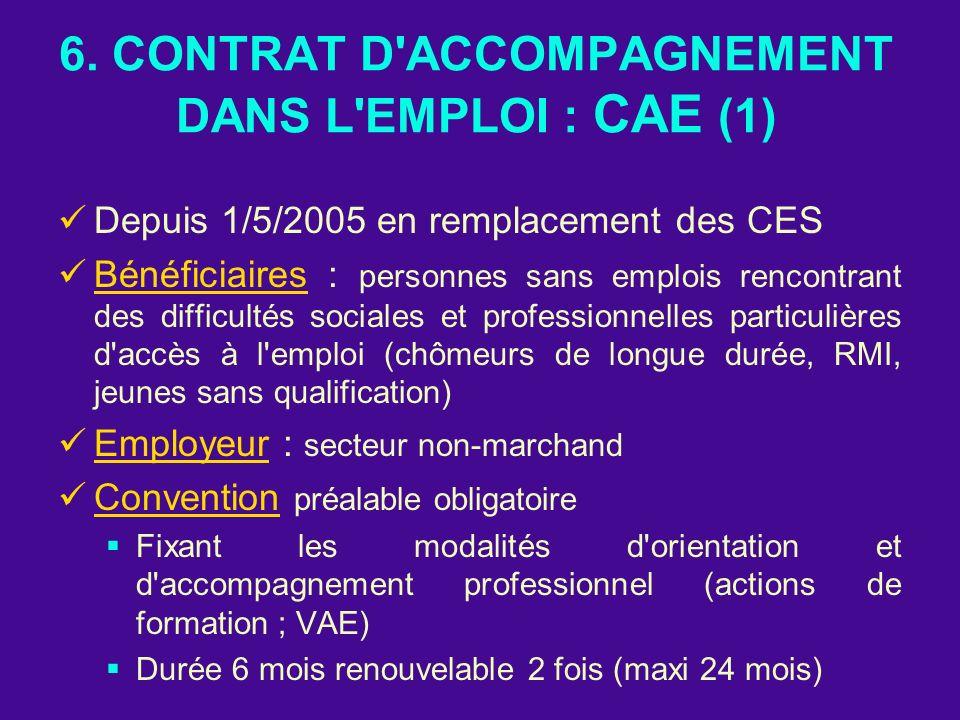 6. CONTRAT D ACCOMPAGNEMENT DANS L EMPLOI : CAE (1)