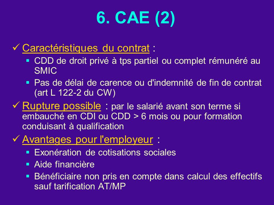6. CAE (2) Caractéristiques du contrat :