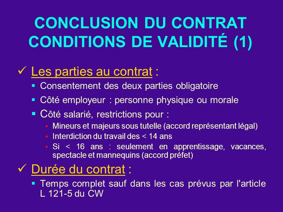 CONCLUSION DU CONTRAT CONDITIONS DE VALIDITÉ (1)
