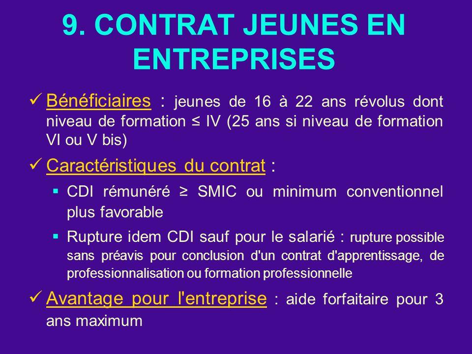 9. CONTRAT JEUNES EN ENTREPRISES
