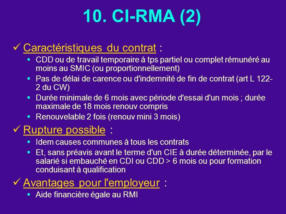 10. CI-RMA (2) Caractéristiques du contrat : Rupture possible :