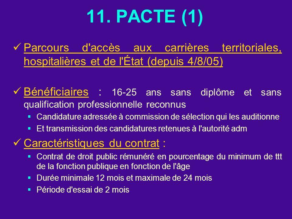 11. PACTE (1) Parcours d accès aux carrières territoriales, hospitalières et de l État (depuis 4/8/05)