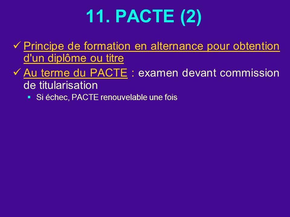 11. PACTE (2) Principe de formation en alternance pour obtention d un diplôme ou titre.
