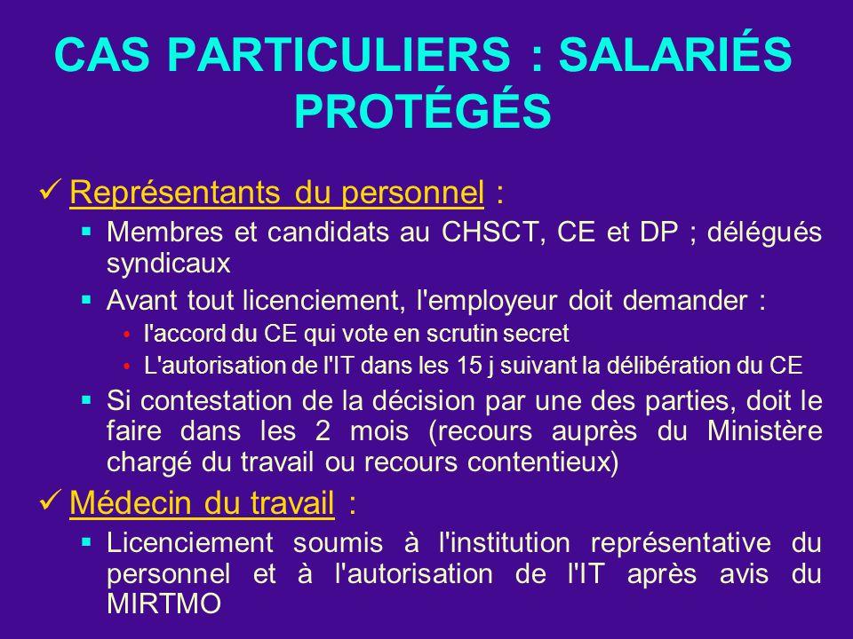 CAS PARTICULIERS : SALARIÉS PROTÉGÉS