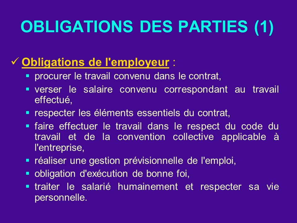 OBLIGATIONS DES PARTIES (1)