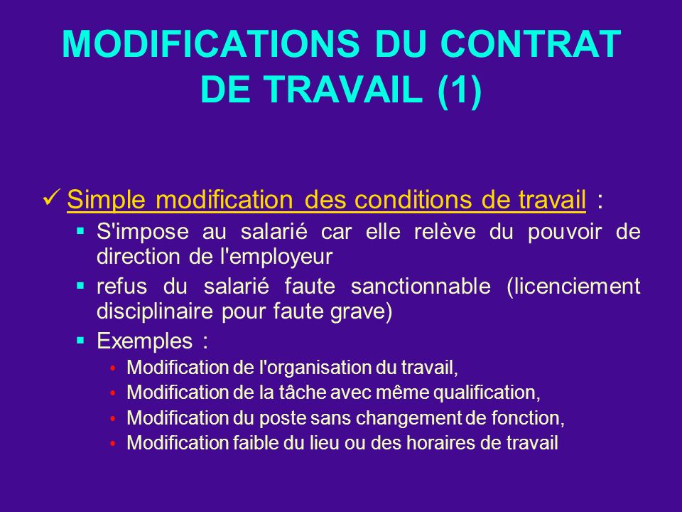 MODIFICATIONS DU CONTRAT DE TRAVAIL (1)