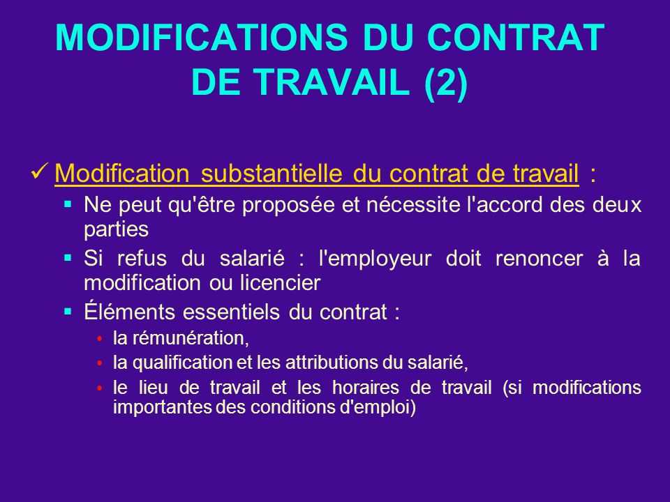 MODIFICATIONS DU CONTRAT DE TRAVAIL (2)
