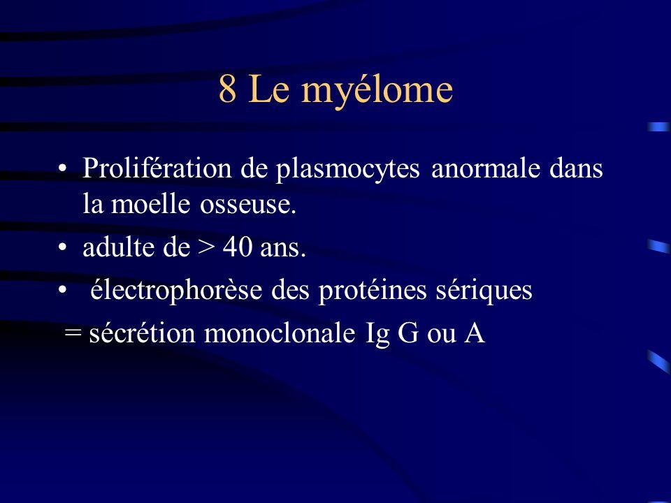8 Le myélome Prolifération de plasmocytes anormale dans la moelle osseuse. adulte de > 40 ans. électrophorèse des protéines sériques.