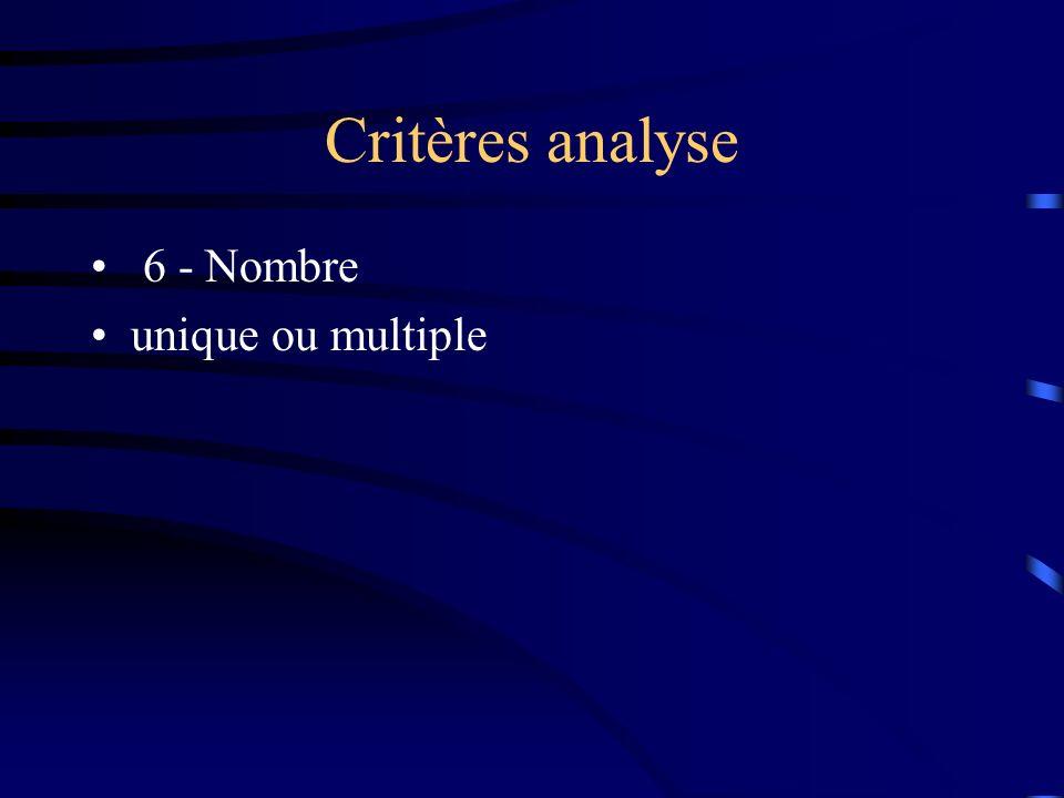 Critères analyse 6 - Nombre unique ou multiple