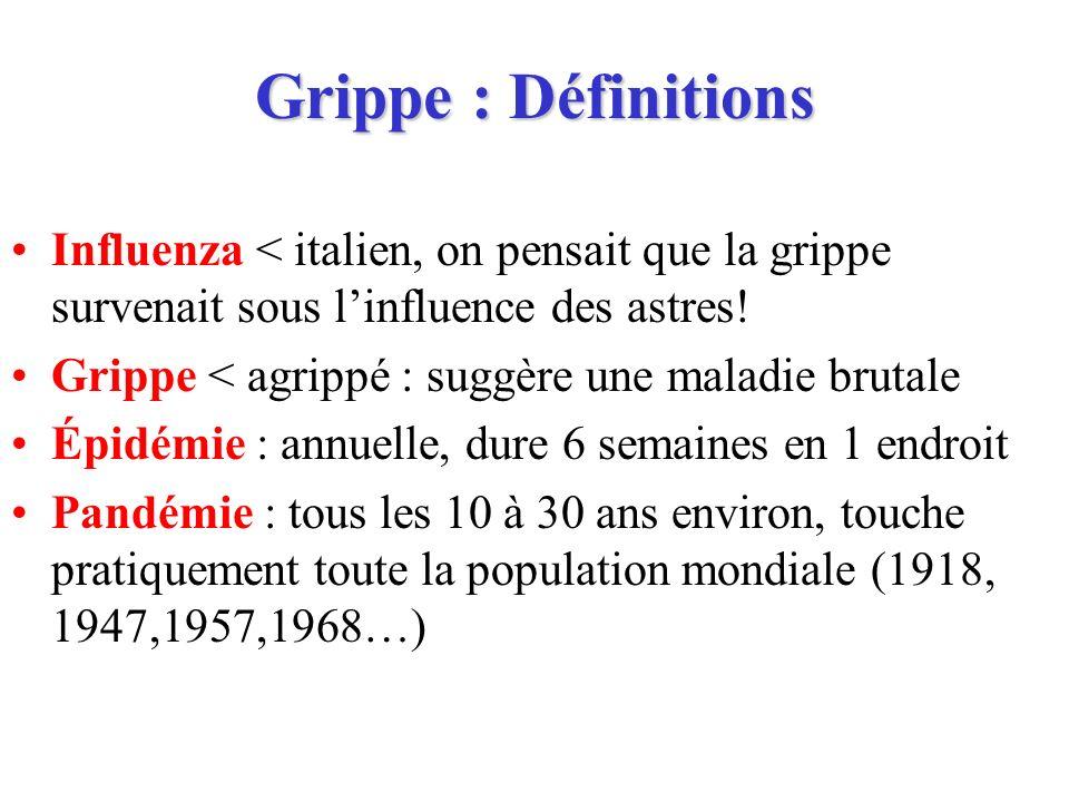Grippe : Définitions Influenza < italien, on pensait que la grippe survenait sous l'influence des astres!
