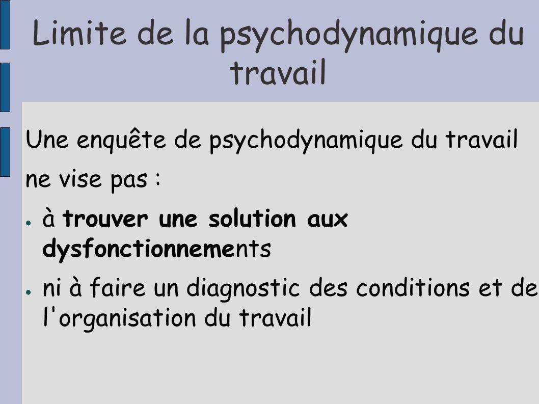 Limite de la psychodynamique du travail