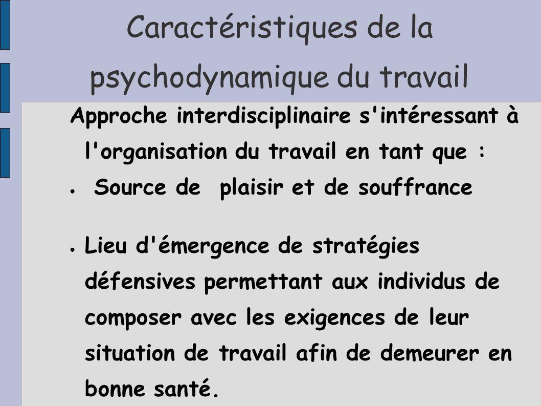 Caractéristiques de la psychodynamique du travail