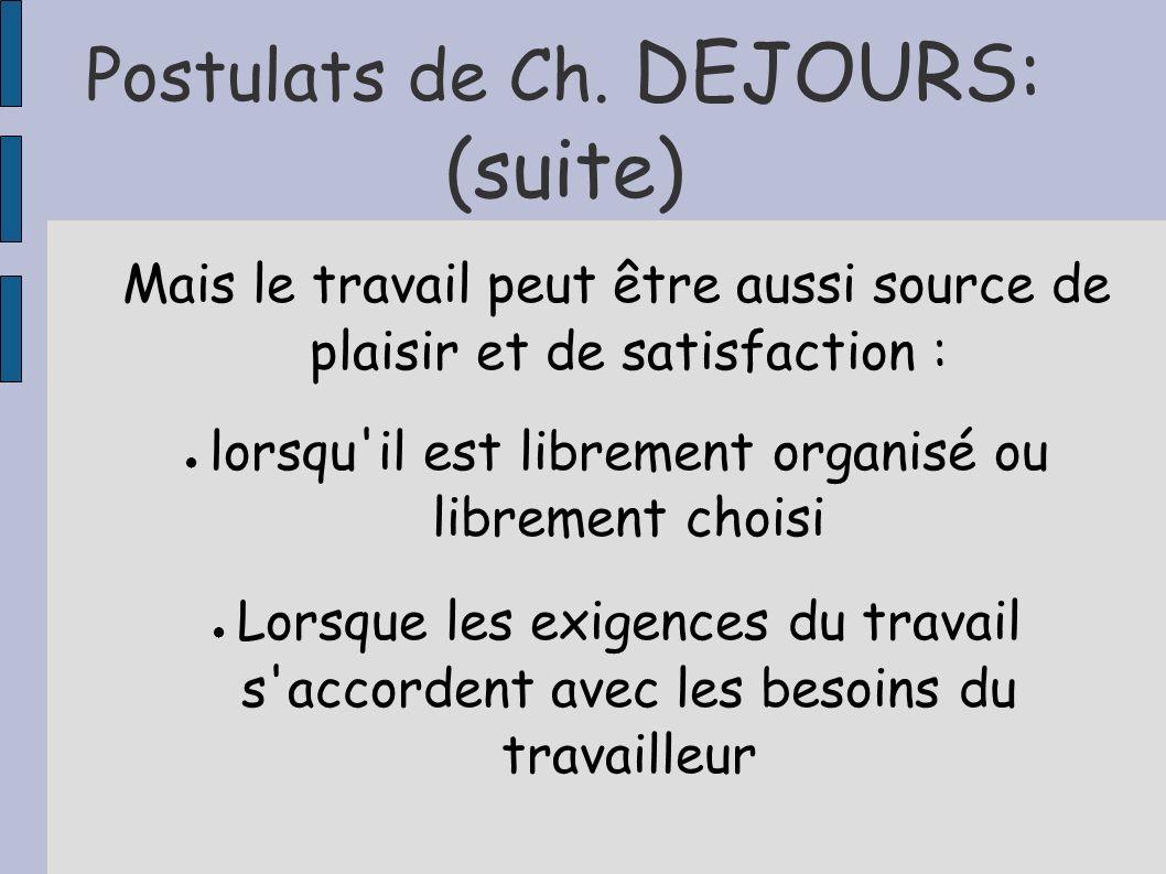 Postulats de Ch. DEJOURS: (suite)