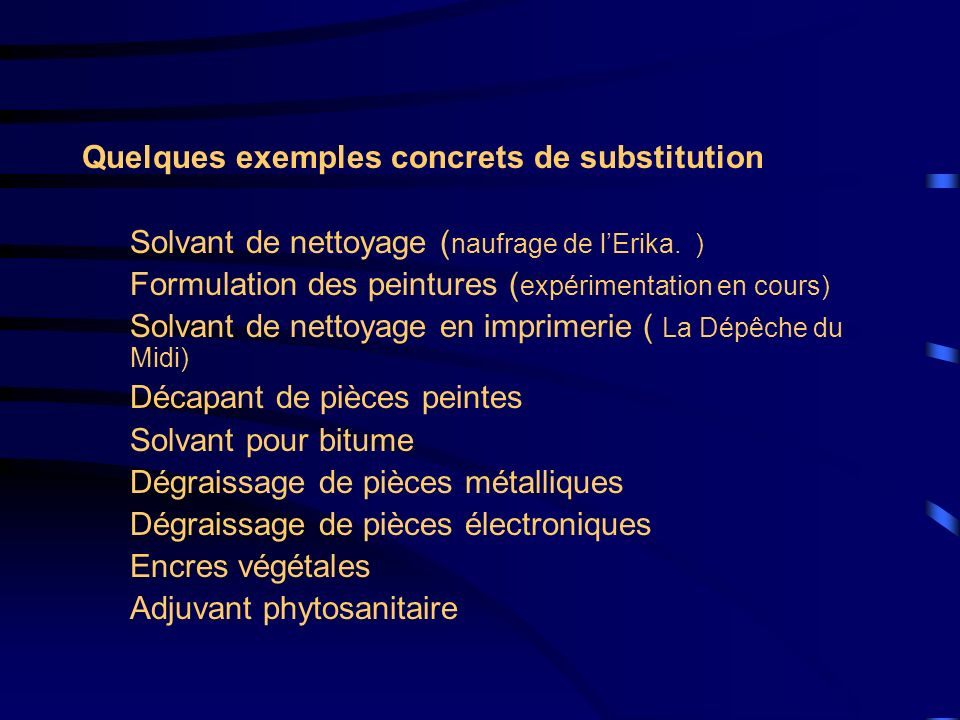 Quelques exemples concrets de substitution